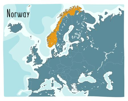Colorful vector map of Norway highlighted in Europe. Hand drawn illustration Vettoriali
