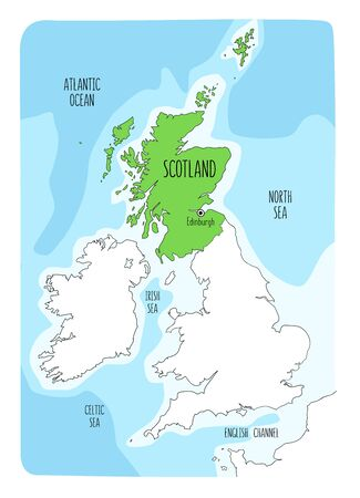 Hand drawn map of Scotland and the British Isles. Colorful hand drawn vector illustration. Green Vettoriali