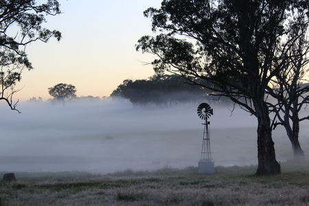 mornings: Windmill in the Mist Stock Photo