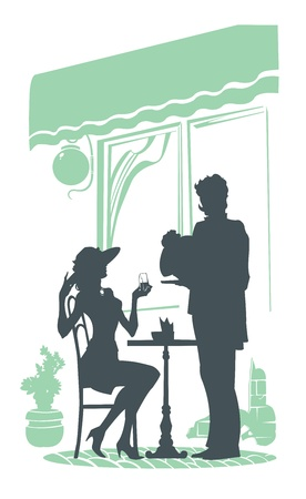 came: girl sits in a cafe waiter came up to her and brought the dish Illustration