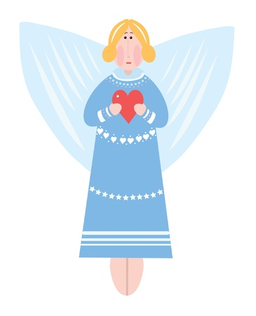 Angel girl on a cloud with heart Vector