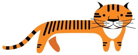 sumatran: orange cartoon tiger on a white background vector