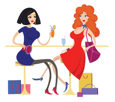 two friends talking: Two girls drinking cocktails and talking in the cafe  Illustration