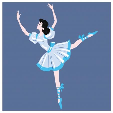 pirouette: brunette dancer in a blue dress on a dark blue background