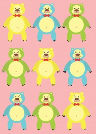 colorful cartoon bears on a pink background Vector
