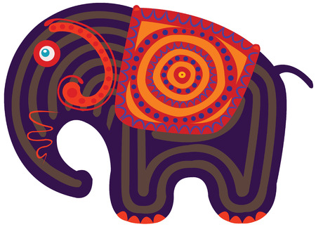 indian elephant: Elefante de la India con coloridos cabo rayas en su espalda