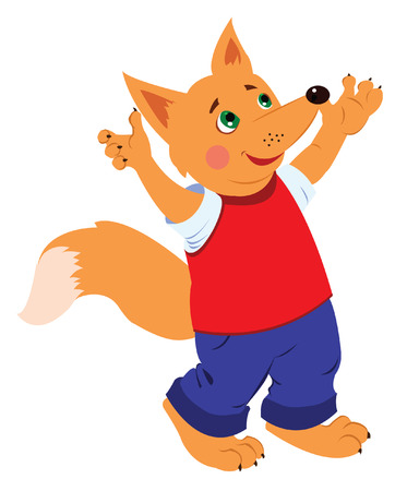 cheerful fox in bright clothes with his hands up Vector