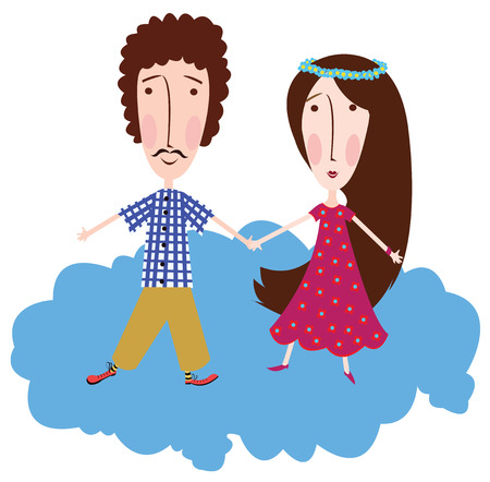 men s boot: boy and girl on a cloud