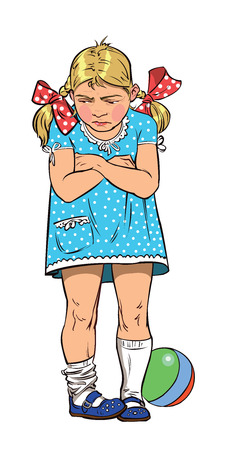 offended: Offended little girl in a blue dress