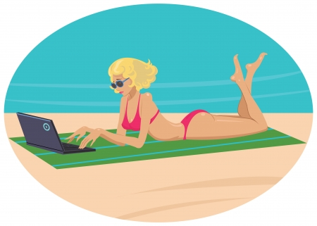 girl with laptop: girl with a laptop on the beach