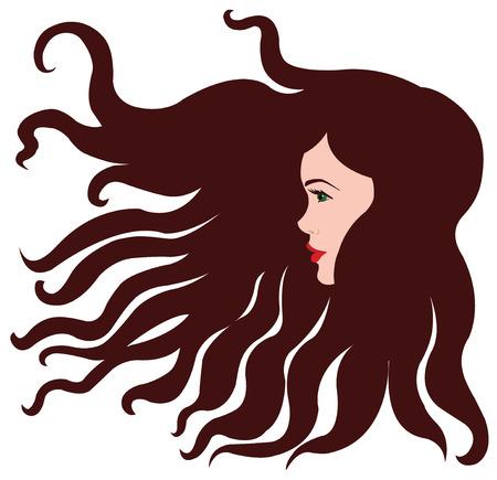 茶髪: 茶色の髪の少女  イラスト・ベクター素材