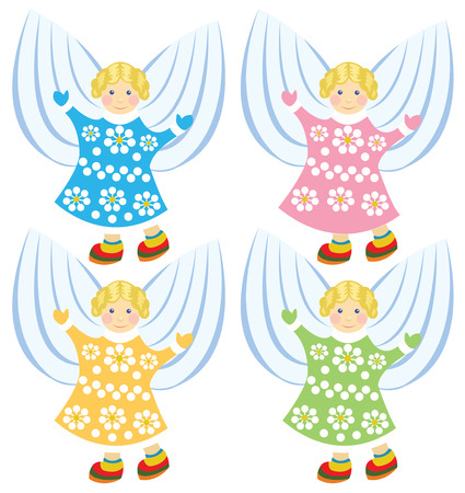 golden hair: angels  with golden hair in colorful dress Illustration