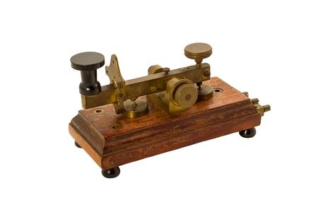 telegraphic communication: Original old telegraph isolated on white. Stock Photo