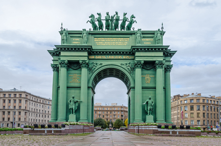 restored: Narva Triumphal Arch in the Narva Square (known as Stachek Square), with  Nike, the Goddess of Victory surmounts the arch, in a triumphal car drawn by six horses, instead of the traditional Quadriga. St.Petersburg, Russia. Stock Photo