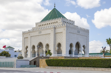The Mausoleum of Mohammed V, a historical building located on the opposite side of the Hassan Tower on the Yacoub al-Mansour esplanade in Rabat, Morocco. Stock Photo