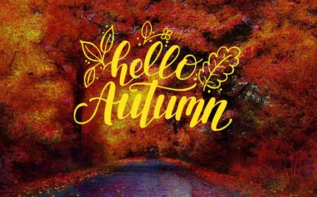 Lettering Hello Autumn Stock Photo