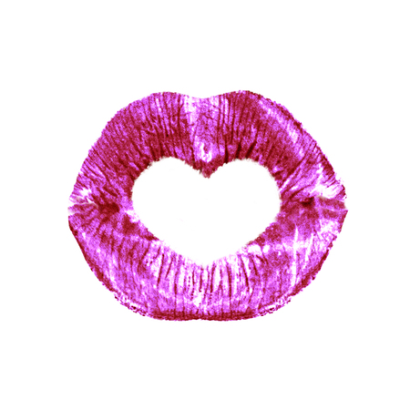 Beautiful red/pink lips with heart isolated on white background, valentine, concept for Valentine's day 写真素材