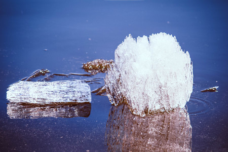 Ice floes in a river during a spring ice drift, close-up.