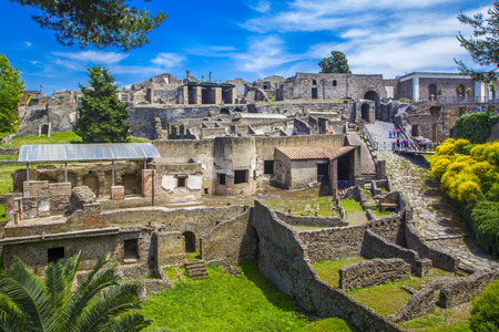 Panoramic view of the ancient city of Pompeii with houses and streets. Pompeii is an ancient Roman city died from the eruption of Mount Vesuvius in the 1st century. Naples, Italy.