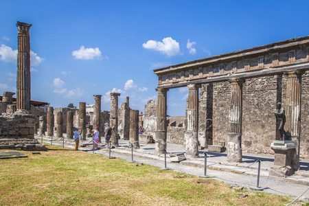 Ruins of the ancient city of Pompeii near the volcano Vizuvius, Pompei, Naples, Italy.