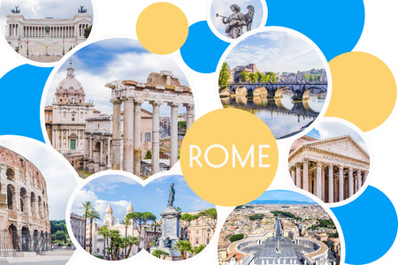 Photo collage of sunny Rome - Roman Forum, Colosseum, stone bridge of Saint Angel,  Pantheon, Piazza Venezia, St. Peter's Square  main attractions of the city, Italy.