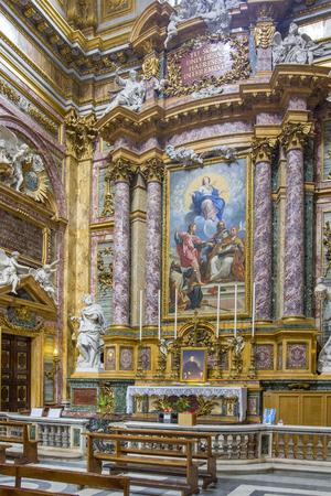 Rome, Italy - June 17, 2014: Cupola of the side in the Basilica dei Santi Ambrogio e Carlo al Corso by Pio Paolini from (1678 - 1681), Rome, Italy