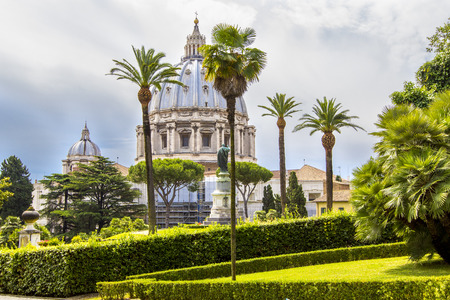 View at St Peter's Basilica from Vatican Gardens, Rome, Italy.