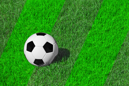 White and black classical soccer ball on fresh green meadow/ grass, copy space for text, concept football 스톡 콘텐츠