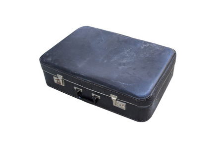 Old vintage shabby leather suitcase brown-black color, isolated on white background