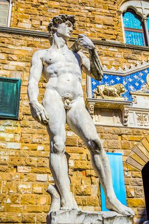 Statue of David by Michelangelo Palazzo Vecchio (Old Palace) on Piazza della Signoria, Florence, Tuscany, Italy
