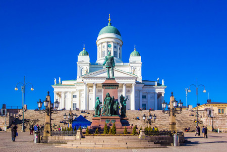 Helsinki Cathedral (St Nicholas' Church) and statue of emperor Alexander II of Russia on Senate Square, Helsinki, Finland Editorial
