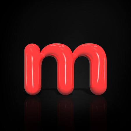 Glossy red paint  letter M lowercase of bubble isolated on black background, 3d rendering illustration