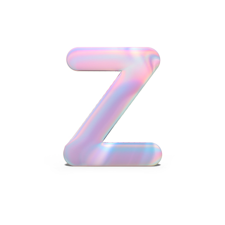 Abstract 3d capital letter Z in bright holographic design. Realistic shiny alphabet on neon blue pink font, isolated white background. 3d rendering Stockfoto