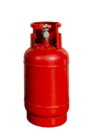 Botella de gas rojo, cilindro de GLP aislado sobre fondo blanco.