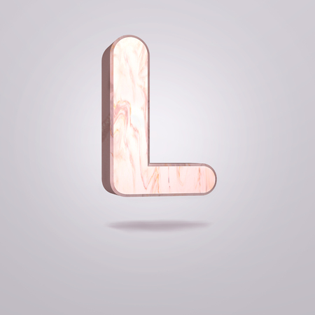 Abstract 3d capital letter L in pink marble. Realistic alphabet on modern font, isolated gray background. Vintage poster. Art design. 3d rendering