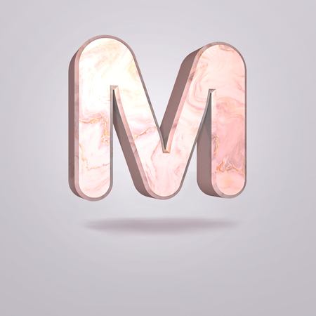 Abstract 3d capital letter M in pink marble. Realistic alphabet on modern font, isolated gray background. Vintage poster. Art design. 3d rendering 免版税图像