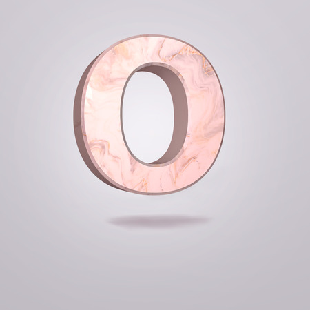 Abstract 3d capital letter O in pink marble. Realistic alphabet on modern font, isolated gray background. Vintage poster. Art design. 3d rendering