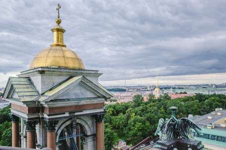 View on of St. Petersburg city from the colonnade of St. Petersburg Isaacs. Russia Stok Fotoğraf