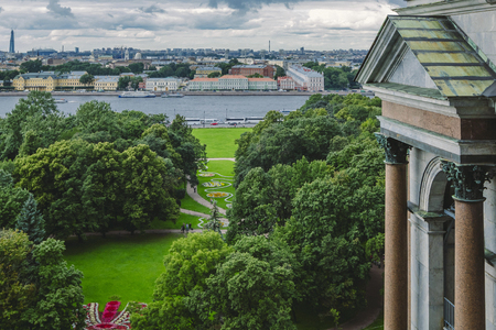 Top view of St. Petersburg and the Neva River from St. Petersburg Isaacs Cathedral.