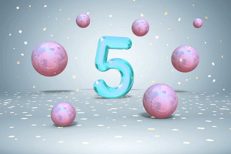 Bright neon number 5, flying balls purple, blue, pink gradients colors, and gold confetti on light background, fifth year of birth, 3d rendering Stok Fotoğraf