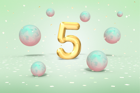 Gold number 5, flying shiny balls neon blue, pink colors and gold confetti on light green background, fifth year of birth, 3d rendering