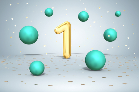 Gold number 1, flying shiny balls neon green colors and gold confetti on light  background, one first birthday, 3d rendering