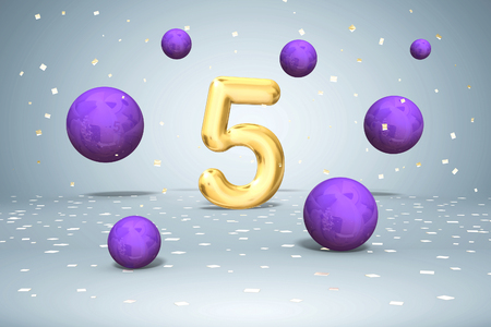 Gold number 5, flying colors on white background, fifth year of birth, 3d rendering Stok Fotoğraf