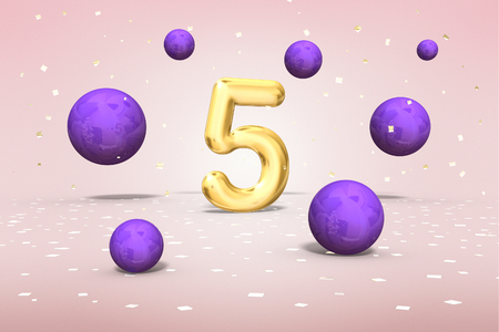 Gold number 5, flying colors, fifth year of birth, 3d rendering