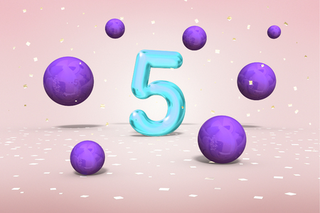 Bright neon number 5, flying balls on white background, fifth year of birth, 3d rendering