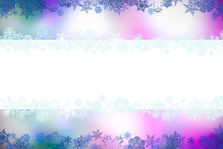 Christmas card with snowflakes and place for greetings on on a blurry white-pink-lilac background. Ð¡hristmas, New Year winter composition, top view, flat lay, with copy space Stok Fotoğraf