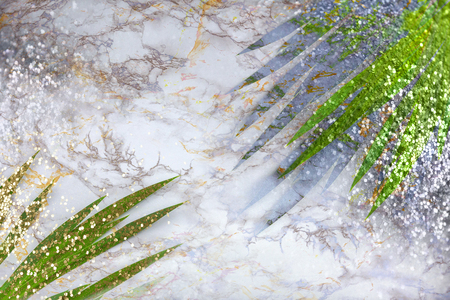 Green tropical palm leaves on marble background with gold silver sparkles. Flat lay, top view, copy space Stok Fotoğraf