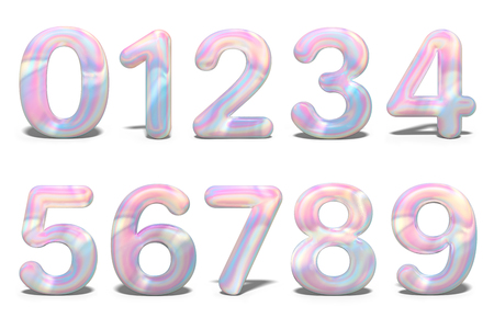 Set with colorful set numbers 3d holographic on white background. Geometric font. Celebration & party. Business card. Metal font. 3d rendering