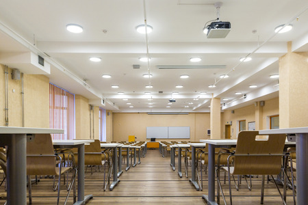 St. Petersburg, Russia - April 6, 2018: Interior of empty University audiences, modern school classroom, St. Petersburg, Russia