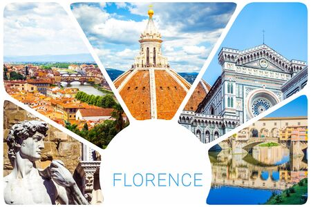 Photo collage from Florence - Cupola Brunelleschi, Statue of David by Michelangelo, Ponte Vecchio, Cathedral of Santa Maria del Fiore, set of travel pictures, Firenze, Italy.